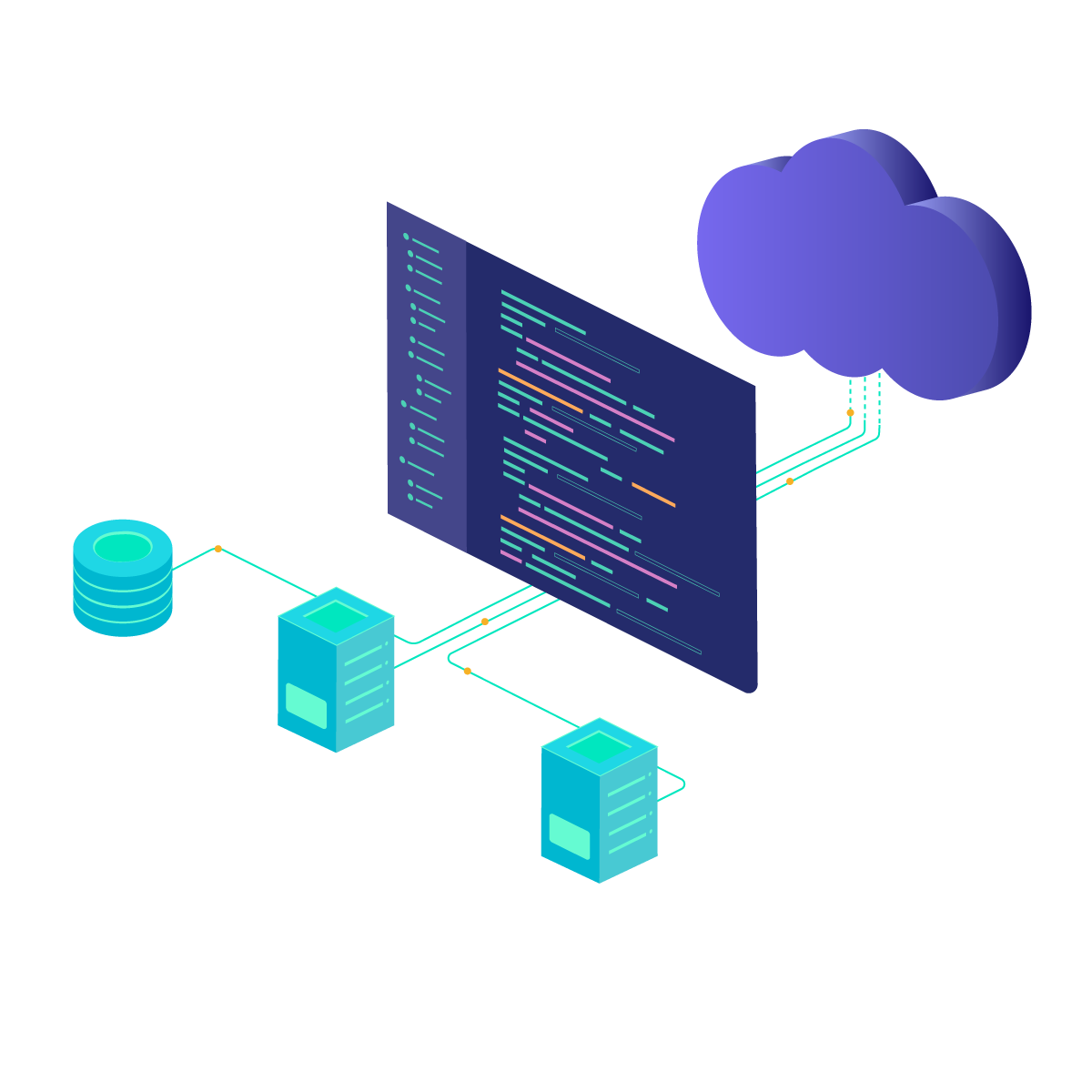 API connected with cloud, database and virtual machines