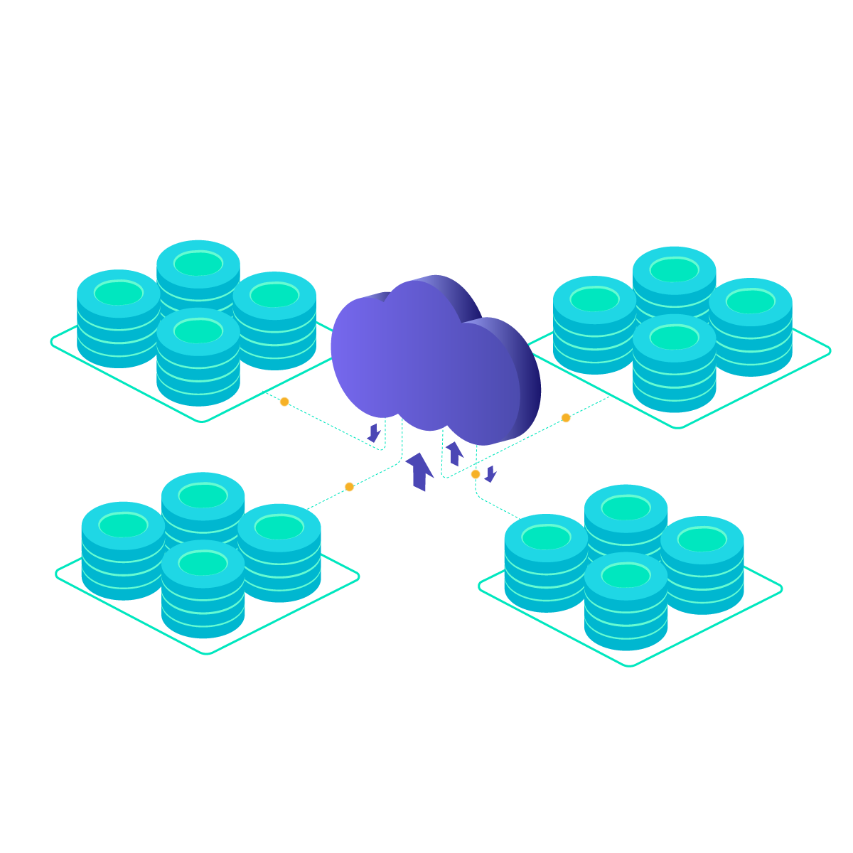 cloud connected with different networks