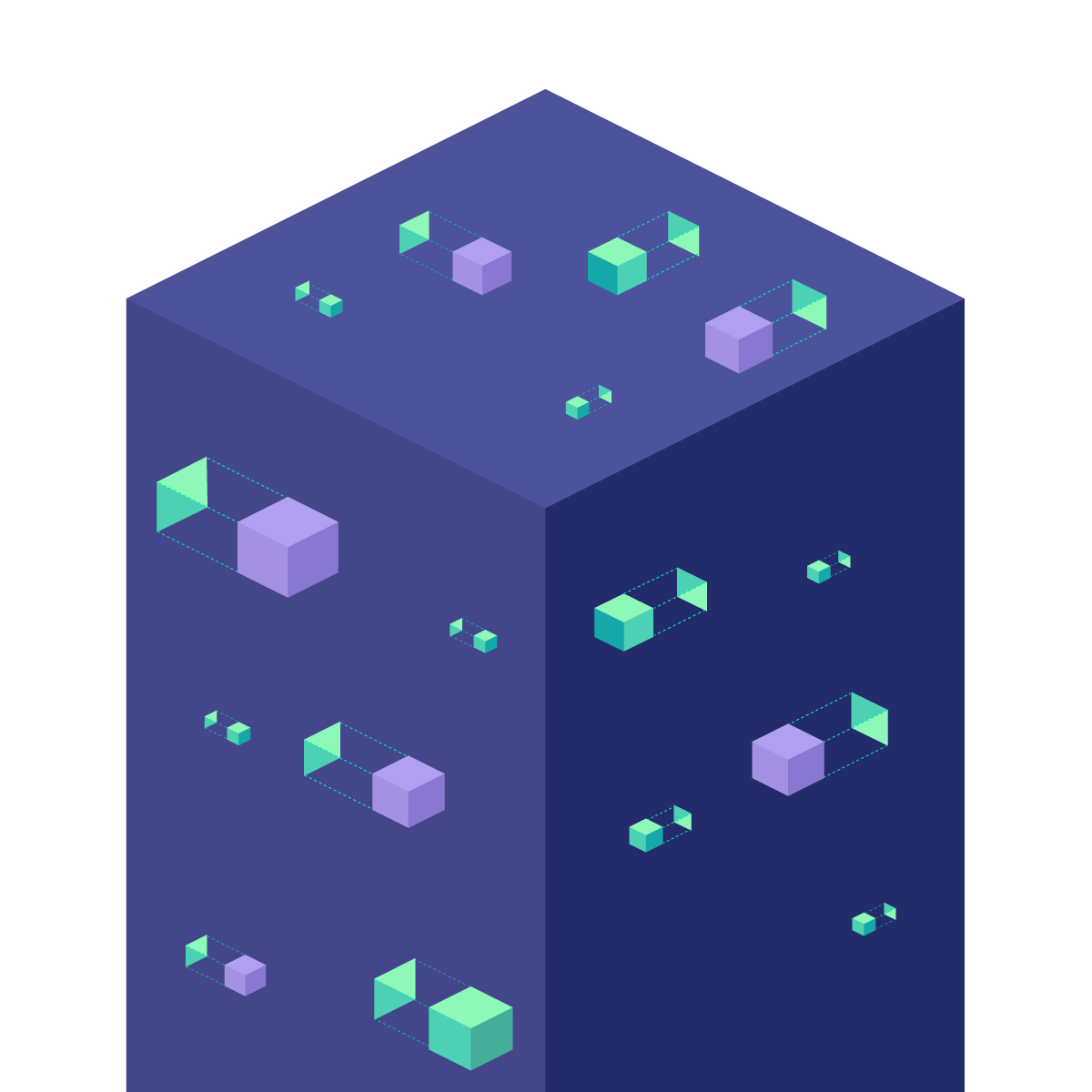 big and small boxes in a cuboid