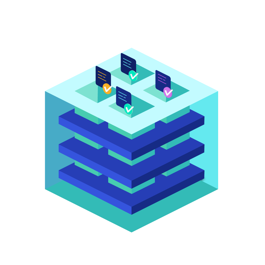 kubernetes cluster: blue box with three levels in it representing the infrastructure in this cluster