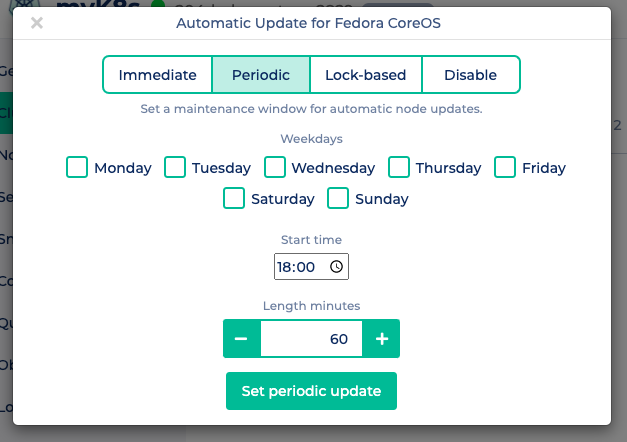Shows settings for automatic periodic updates