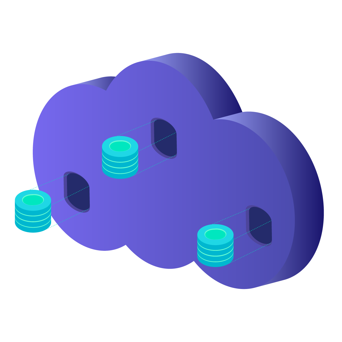 different volumes available in a cloud