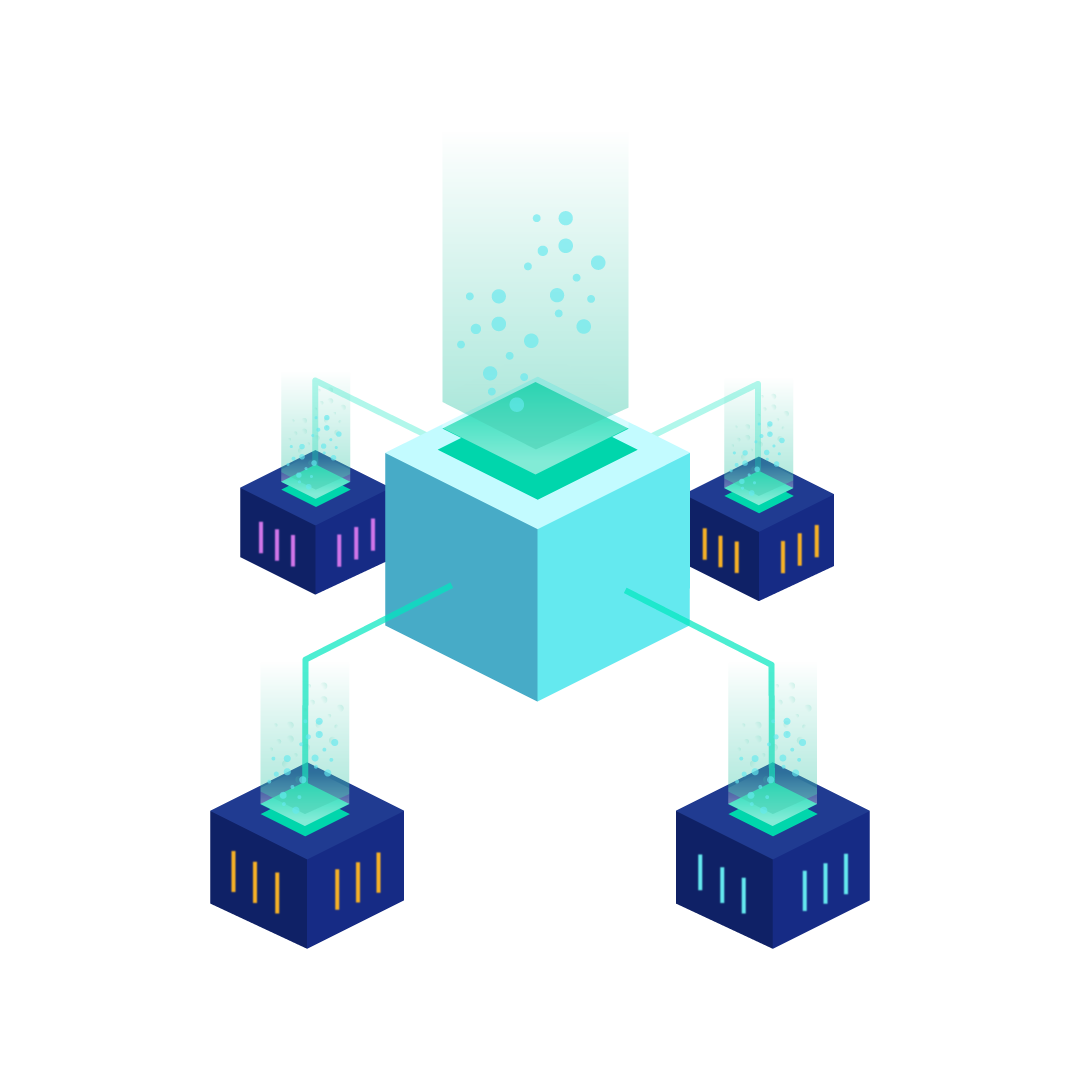 Load Balancer: big blue box having four arms to four little boxes representing apps