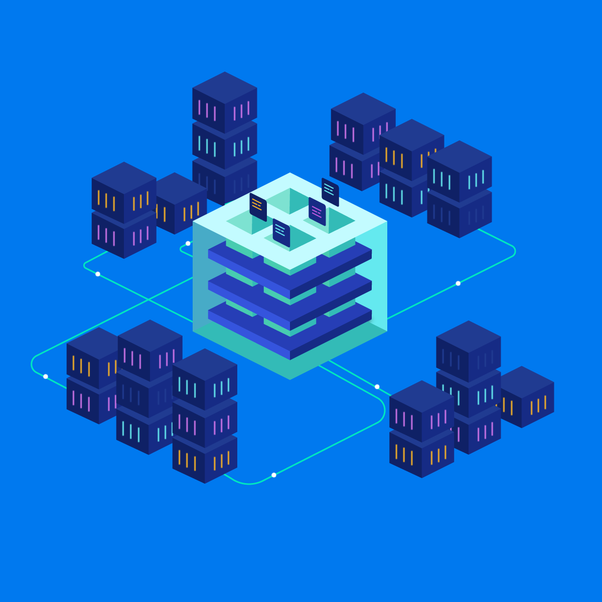 kubernetes architecture: Containers around a big box which manages those containers for applications